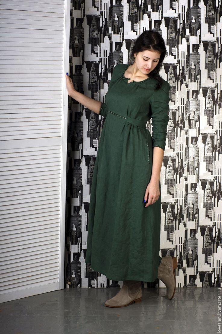 """Купить Платье из льна """"Фея английских холмов"""" - зеленый, зеленый цвет, платье стильное"""