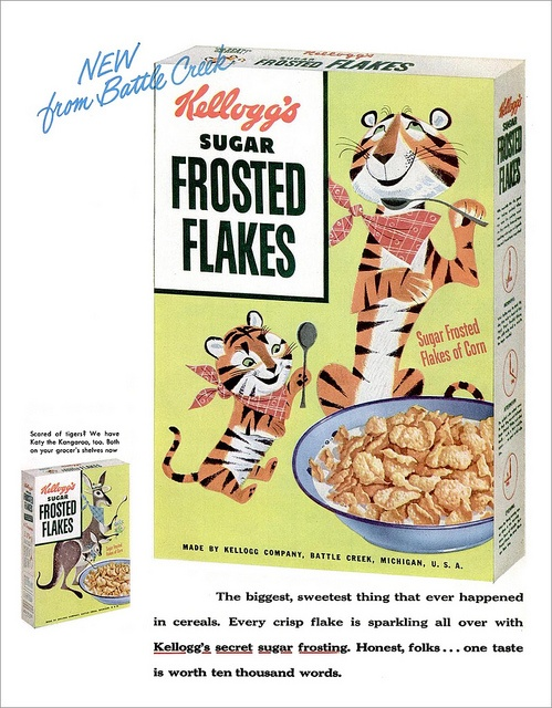 Awwww, I'm a super cute vintage ad roll this morning! First the darling Campbell's Kids and now this adorable ad from 1953 showing Tony Jr. alongside his cereal loving pop. #food #cereal #1950s #fifties #retro #tiger #cute #ads #frosted #flakes #breakfast