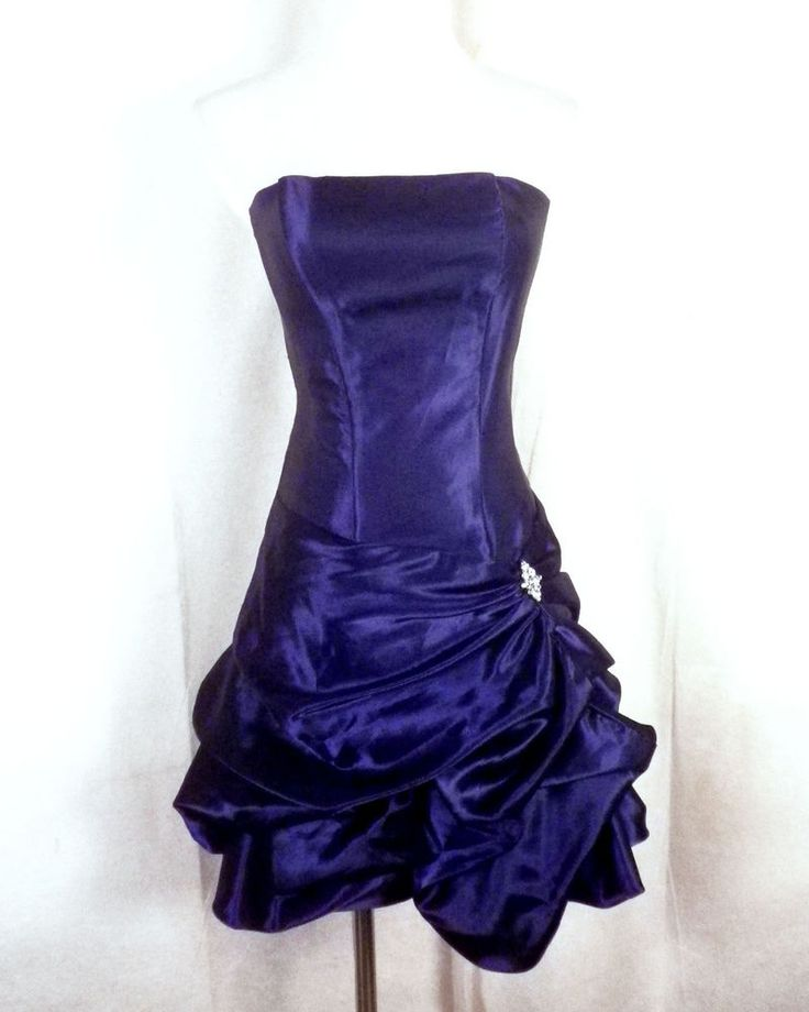 vtg 80s Jessica McClintock Gunne Sax Royal Blue Prom Dress Formal rhinestones S