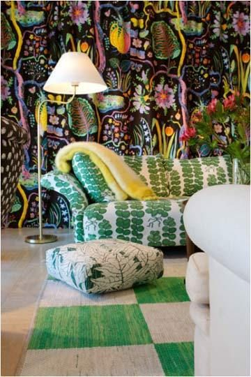 Joseph Frank wallpaper, and fabric. Love the green and white parquet rug...fun!