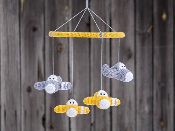 This cute baby mobile with crochet airplanes is made to order and it takes about 10 days to make. I use high quality organic cotton yarn and hypoallergenic stuffing. You can choose the colors for your mobile from the last picture. (Main color and accent color for every plane plus colors for