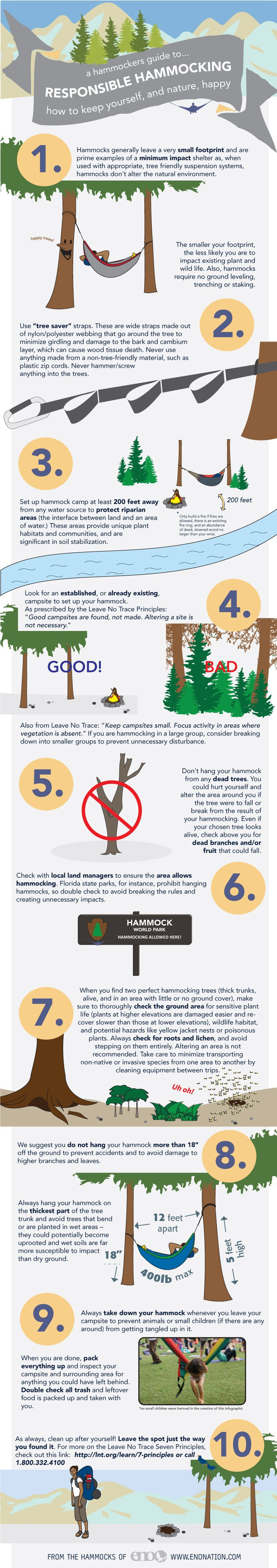 A Hammockers Guide to: Responsible Hammocking. How to keep yourself and Mother Nature happy. #relaxwitheno #happyhammocking