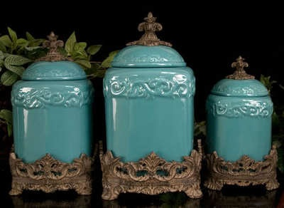 Tuscan drake design turquoise kitchen canisters s 3 for Drake designs kitchen