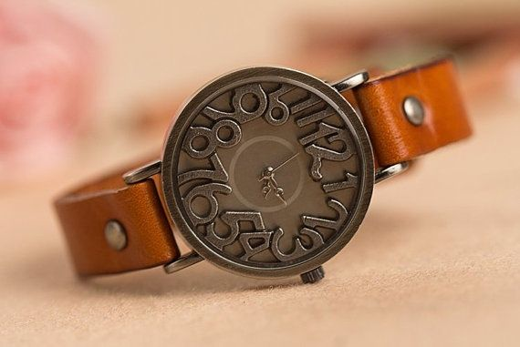 Woman watch with leather bracelet  Bracelet from by ...