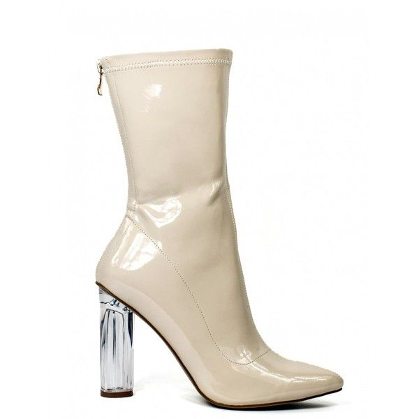 LOVE YOURSELF ANKLE BOOTS IN NUDE PATENT WITH CLEAR PERSPEX HEEL ($40) ❤ liked on Polyvore featuring shoes, boots, ankle booties, heels, bootie boots, clear boots, ankle boots, short boots and patent boots