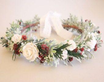 Corona corona di fiori di pesco matrimonio di MoonflowerNatureArt