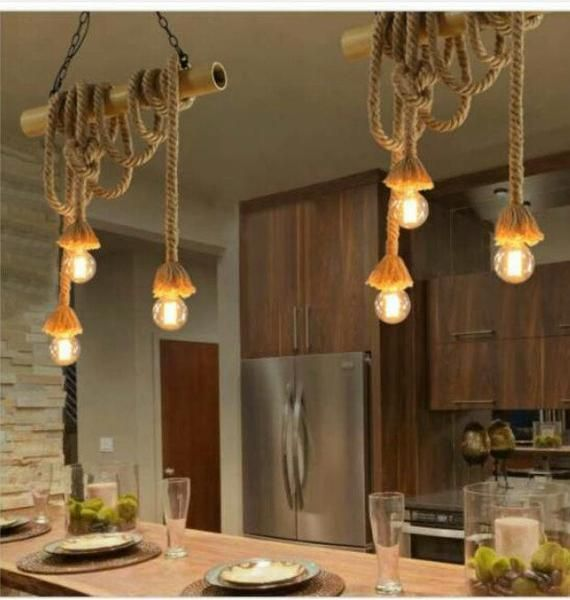 Rustic Rope Chandelier Customizable Bamboo Ceiling Pendant