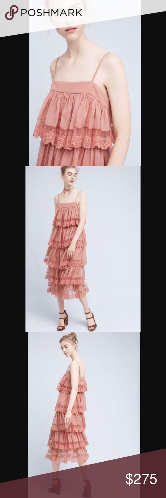 Anthropologie Three Floor tiered blush dress NWT. Size 2. So beautiful and romantic. Anthropologie Dresses Midi