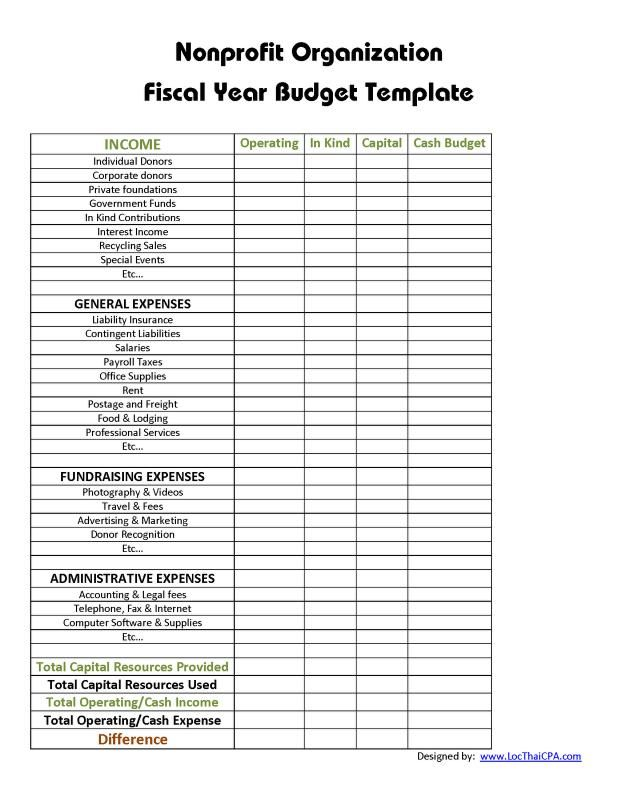 Non Profit Budget Template Budget Template Budget Spreadsheet Budgeting