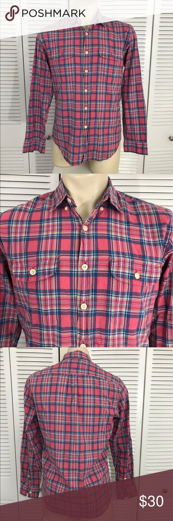 Madras shirt tailored by J. crew shirt size medium Men's tailored madras shirt by J. Crew long sleeve plaid shirt size medium. 100% cotton J. Crew Shirts Casual Button Down Shirts