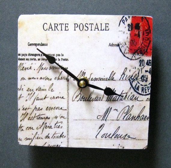 Small wall clock. Postcard clock. Antique French by paperannie
