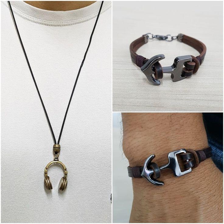 Kit Colar Masculino Fone Pulseira Masculina Couro Ancora mens bracelets necklace style fashion cocar brasil