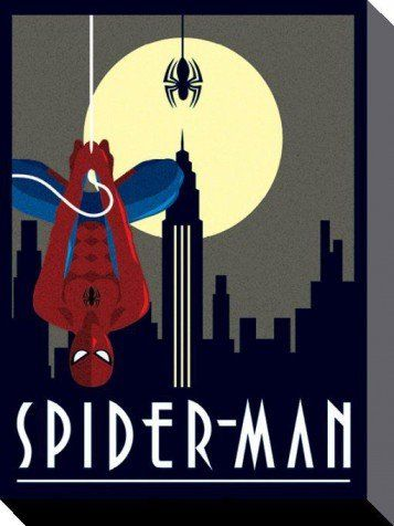Posters: Spider-Man Stretched Canvas Print - Hanging Upside Down, Marvel Comics, Art Deco (16 x 12 inches): Amazon.co.uk: Kitchen & Home