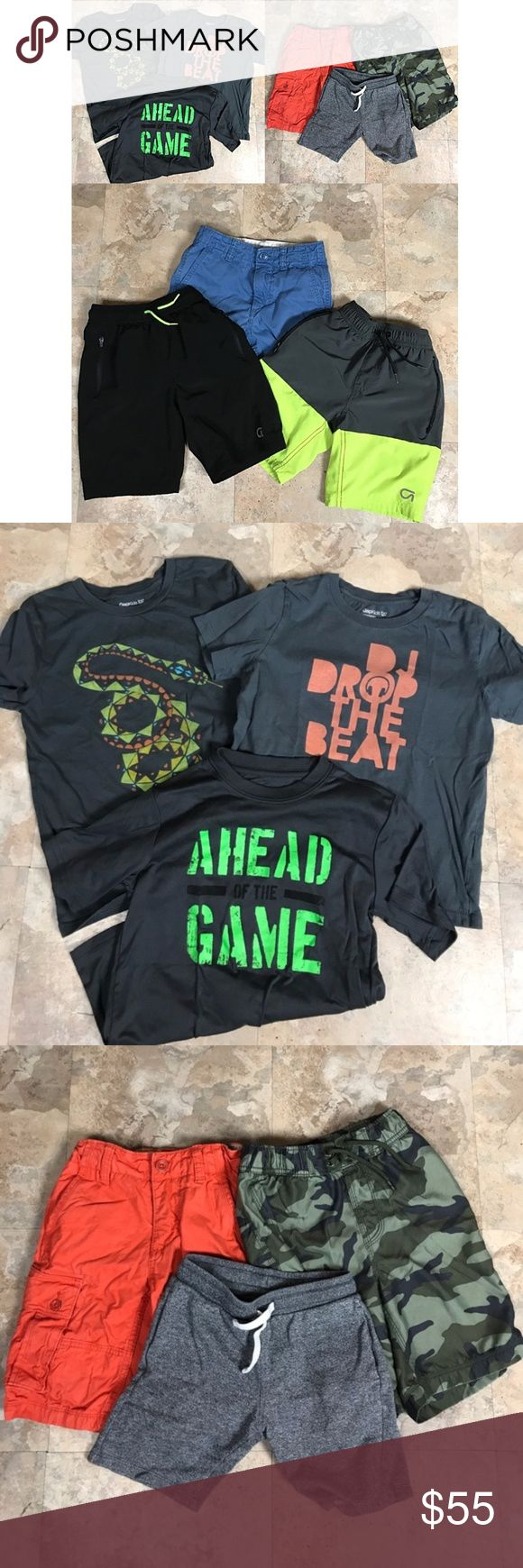 "Boys 12pc Bundle (6-7) Small Gap HM Umbro Boys (6-7) Tee 12pc Bundle (10 Gap, 1 HM Short, 1 Umbro Tee) // Gap DJ shirt has a tiny snag as pictured - it was a favorite and too cute to toss out - still has lots of play life left. Ahead of the Game ""Umbro"" Tee is like New. Gap Snake Tee is EUC. Camo Gap Swim Trunks, 2 Quick Dry Gap Shorts, Gap Blue Chinos, Gap Orange Cargo Chinos. Gap Sleep 3pc Bundle Size 6 // Matching Fleecey Navy set & Wolf Sleep Shirt (my son won't let go of the matching…"