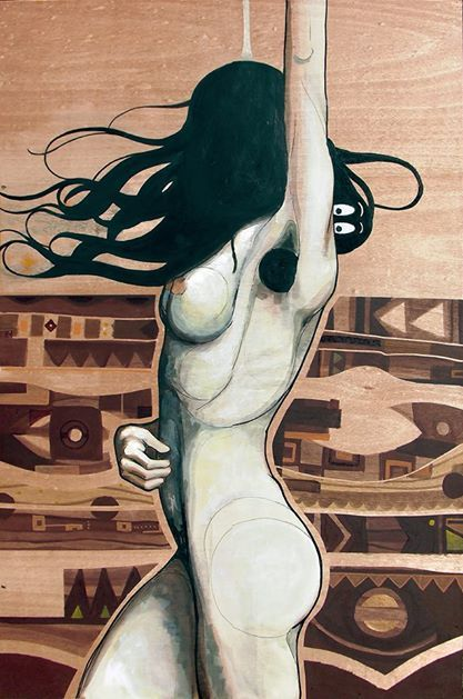 """BARBA MAMA"" by elDIMITRY 120x80cm, mixed techique on wood, solo show at Fousion Gallery Barcelona 2014 exhibited till 28. FEB 2015 available at Fousiongallery.com"
