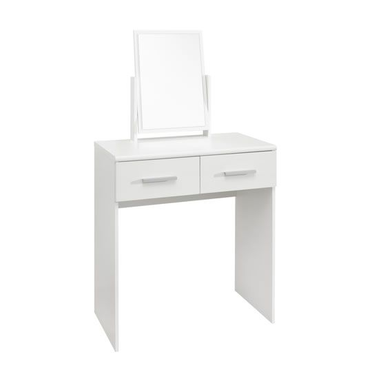 Ohio Gloss 2 Drawer Dressing Table with Mirror and Stool - BedroomFurnitureWorld