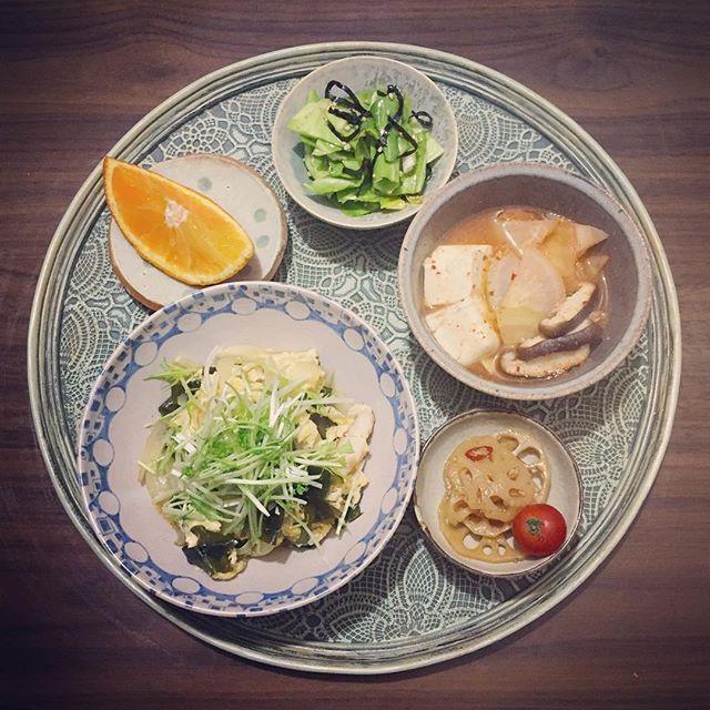 u_maimai22016.2.21 おはようSUNDAY* 朝ごはん、冷蔵庫にあるもので…最近料理のやる気がわかず、こんな食事ばかり。滋味めしというより地味めし。笑 ささみの親子煮、蓮根金平、豆腐チゲスープ、キャベツの塩昆布あえ、紅まどんな。 あ〜ひじきが食べたい♪ #うまいまいごはん #ごはん #朝ごはん #朝食 #morning #breakfast #食卓 #おうちごはん #器 #うつわ #ダイエット #ダイエット6ヶ月計画 #食事記録 #滋味めし #常備菜 #とりあえず野菜食 #おぼんdeごはん #高坂千春 #中園晋作  #糖質オフ #糖質制限 (ゆるめ)  #糖質制限ダイエット