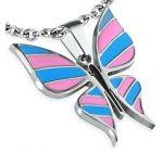 Nemesacél Zománcozott Pillangó Medál Stainless Steel Enamelled Butterfly Pendant 2300 HUF