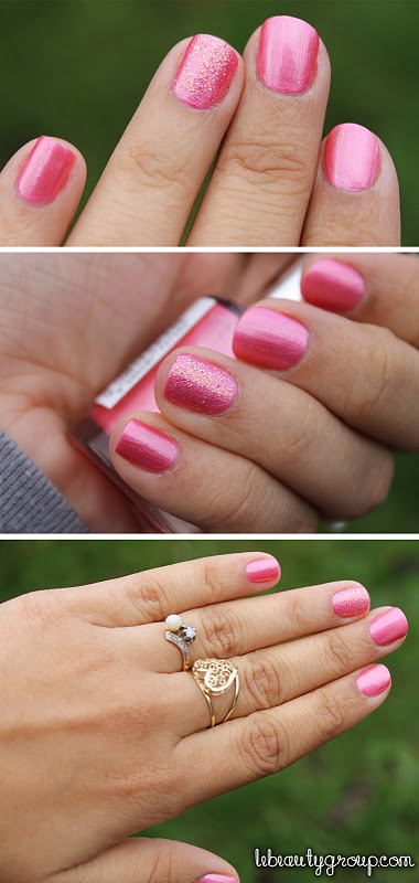 one glitter nail! Barbie pink is always a classic.