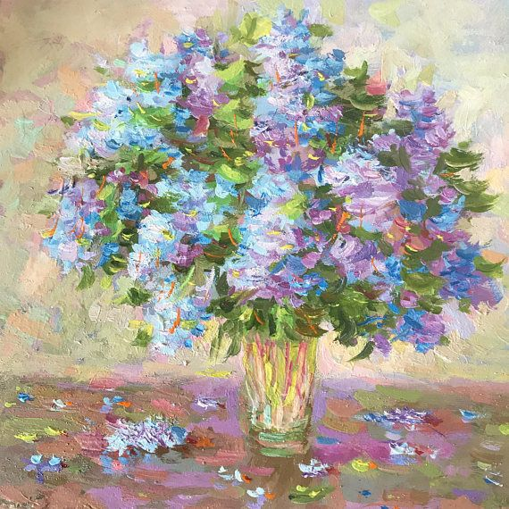 Small Original oil painting floral painted lilac   Title: Fresh Lilacs; Measurements: 21.5H x 20W x 0.3 cm or 8.5H x 7.9W inches; Medium: Oil on priming hardboard; By Aleks Salatov