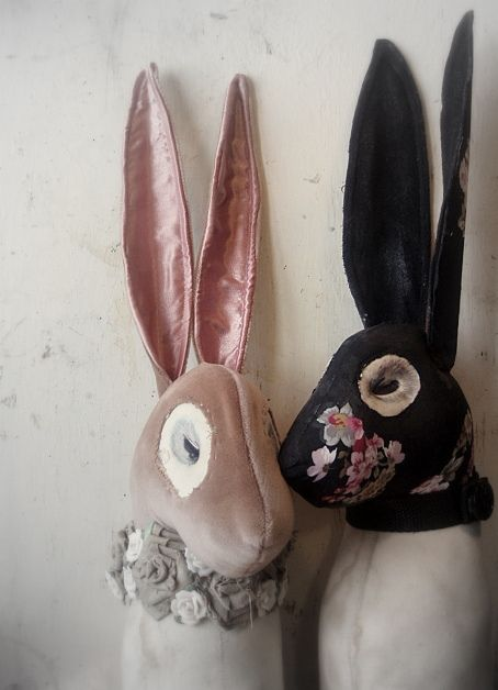 Rabbits from Mister Finch textile art woweeeeeeeeee