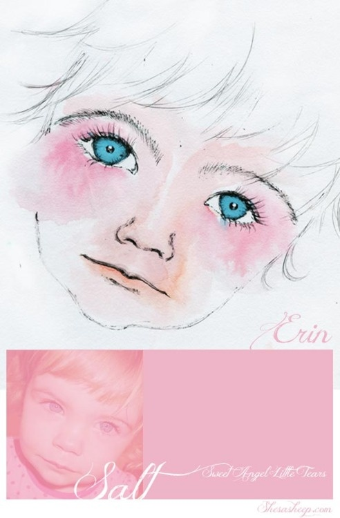 I just couldn't help myself, when I caught Erin crying…I thought, that's a moment we'll want capture for when she turns 21. The quick snap taken showed much more than a little girl crying, so I turned to my trusty watercolours once again...