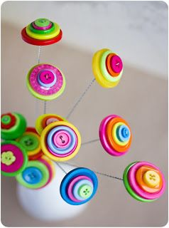 DIY Flowers - Make Button Flowers - mothers day, service gift for seniors, (or just fun camp craft) etc etc. https://seniorsource.com/