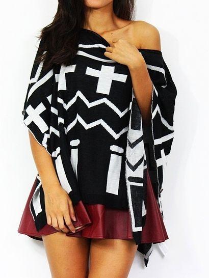 Czarno-biały sweter w ciekawe wzory - idealny na nadchodzący sezon