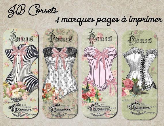 """4 marques pages à imprimer """"JB corsets""""                                                                                                                                                                                 Plus"""