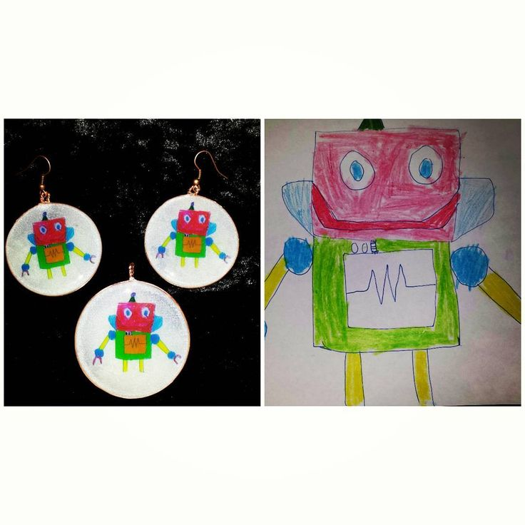 "Customized jewelry set. One robot drawing by my son, a scanner, little Photoshop, copper wire and resin and voila, ""wear your kid's imagination around your neck"" day!"