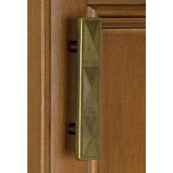 GlideRite 2.5 Inch Antique Brass Rectangle Triple Pyramid Cabinet Pulls  (Pack Of 10)