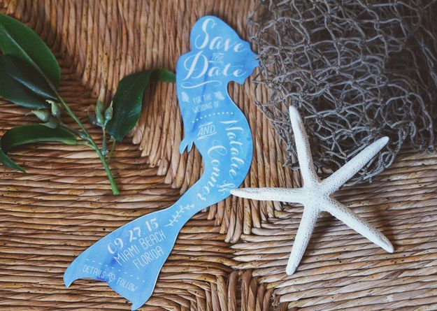 """Choose save the date cards that will """"swim"""" to your guests' mailboxes."""