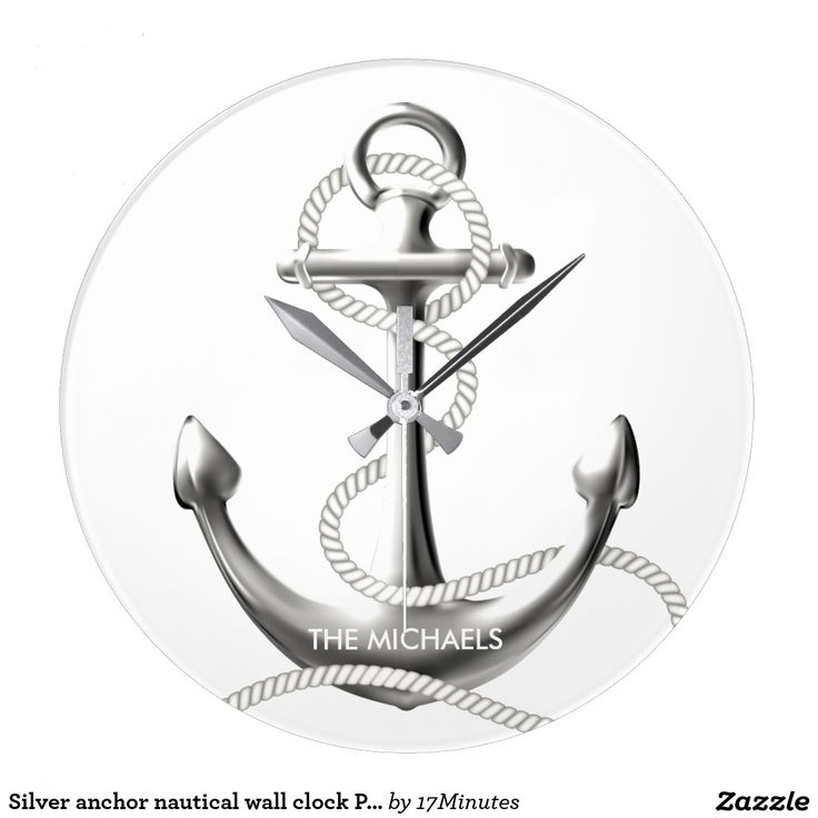 Silver anchor nautical wall clock Personalized. Choose your size and shape. Personalized wall clock.