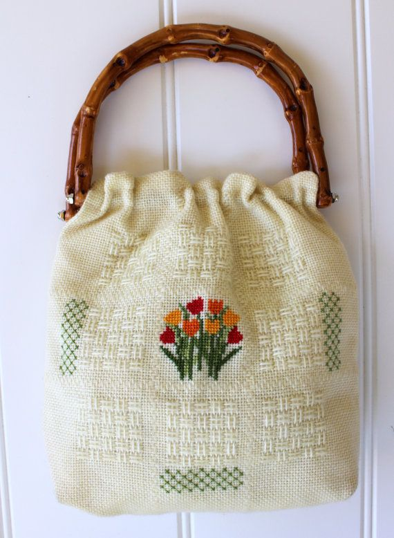 Vintage Purse with Bamboo Handles  Cross Stitch by catnapcottage