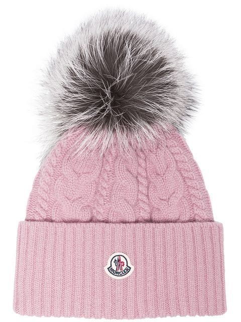 d716b770c8e Moncler Pink Wool Beanie Hat With Pom Pom - Farfetch