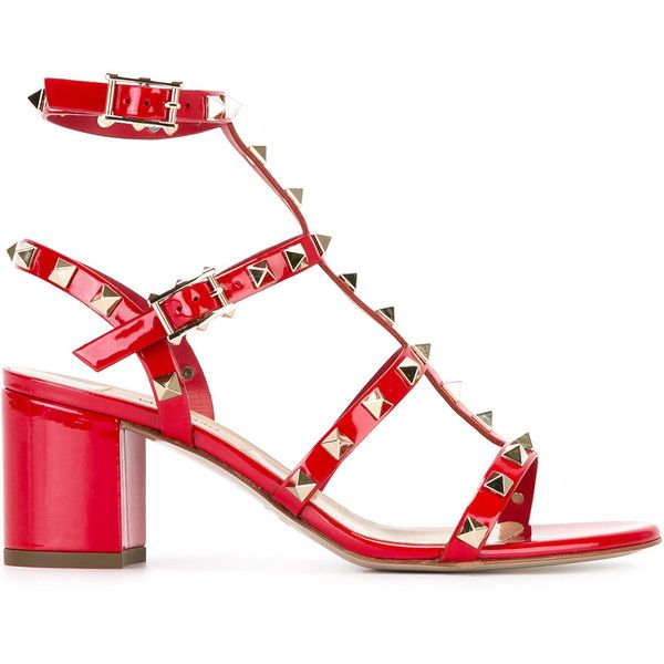 Valentino Garavani Rockstud sandals (1,395 CAD) ❤ liked on Polyvore featuring shoes, sandals, red, red sandals, leather shoes, ankle strap sandals, leather sandals and open toe sandals