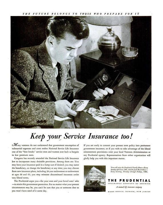 1946 Prudential Insurance Advertisement Print Ad Poster Black