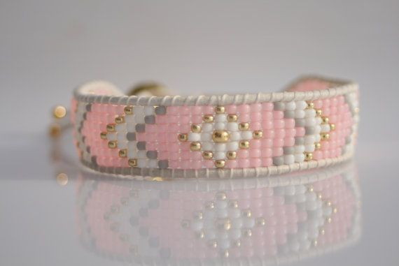 A beautiful beaded bracelet! Made of Japanese TOHO beads and white real leather cord. The bracelet is suitable for arm 16-18 cm. Please contact me if