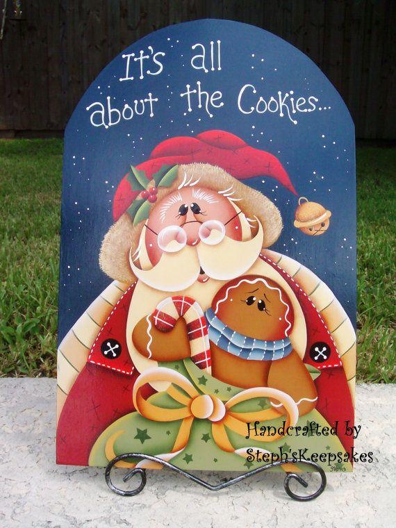 Handpainted Christmastime Gingerbread Santa por stephskeepsakes