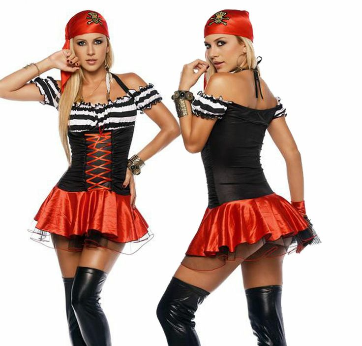Sexy Women's Pirate Dress ups Costume Lingerie Red Black White Bandana