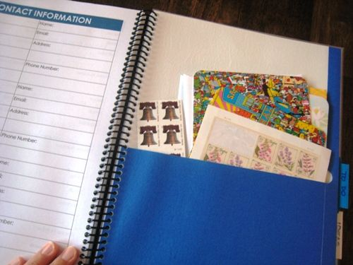Updated article on DIY planner.  She added pocket pages from folders and laminated some pages instead of having multiple copies - would make it thinner!