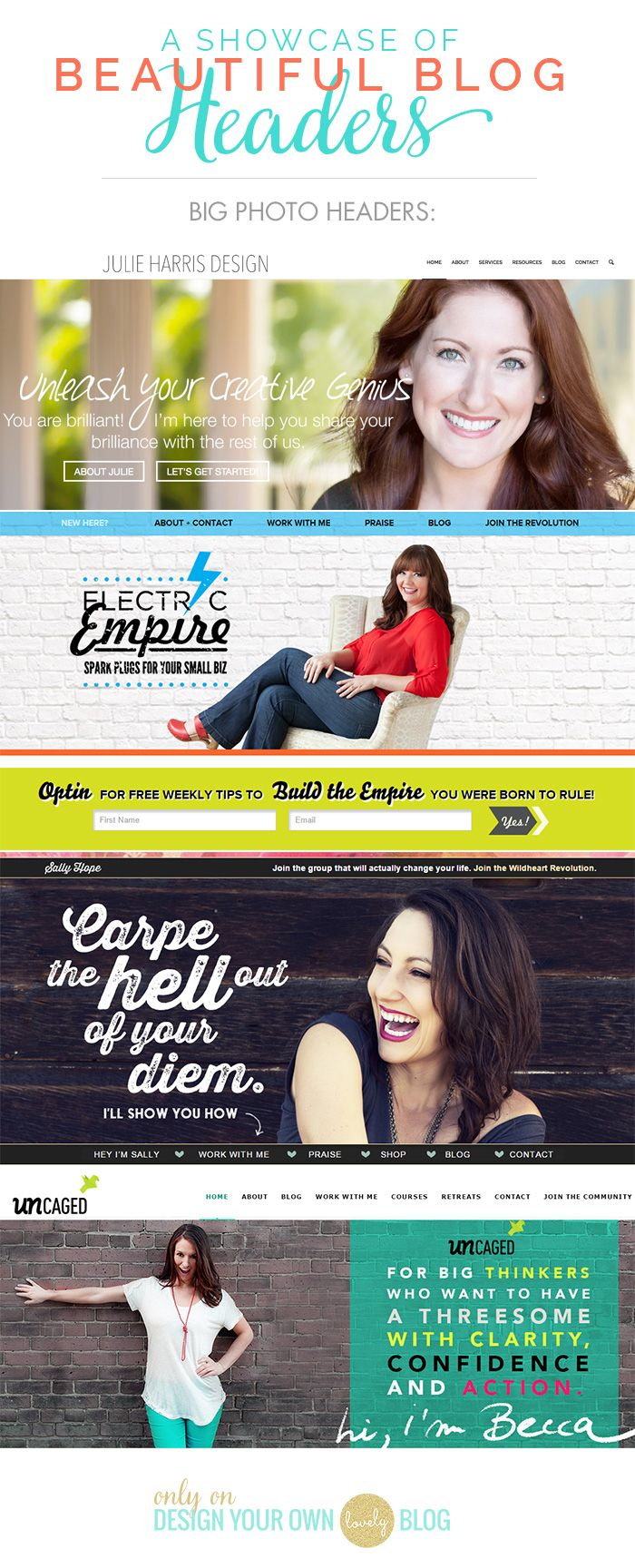 Beautiful blog headers with big photos. See more blog header inspiration at DesignYourOwnBlog.com.