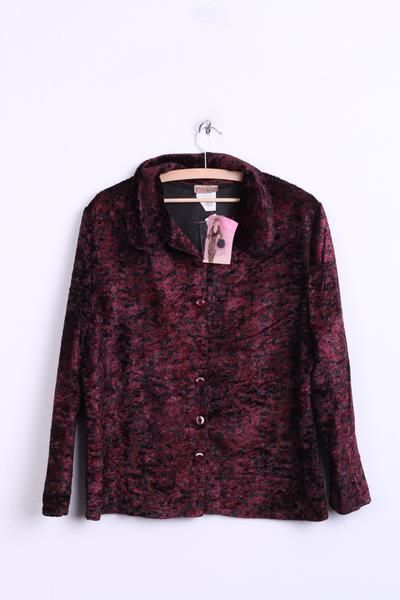 Kim & CO. Womens L Velvet Blazer Jacket Bordeaux/ Black Single Breasted - RetrospectClothes