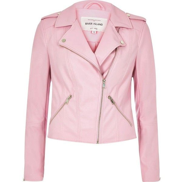 River Island Pink leather look biker jacket ($67) ❤ liked on Polyvore featuring outerwear, jackets, coats / jackets, pink, women, moto jacket, metallic jacket, vegan leather jacket, faux leather motorcycle jacket and vegan moto jacket