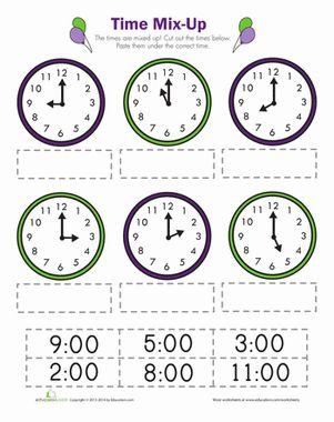 First Grade Time Worksheets: Time Mix Up