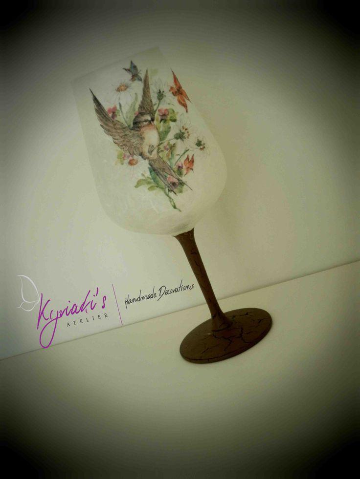 "My handmade Glass Candleholder ""Vintage Bird"" by Kyriaki's Atelier"