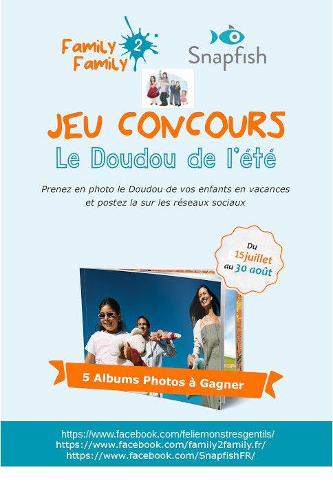 """concours """"jamais sans mon doudou"""" avec @family2family et @snapfish"""