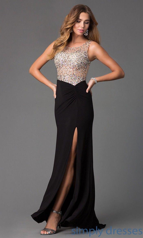 Floor-Length Black Dress With Gold Detailing