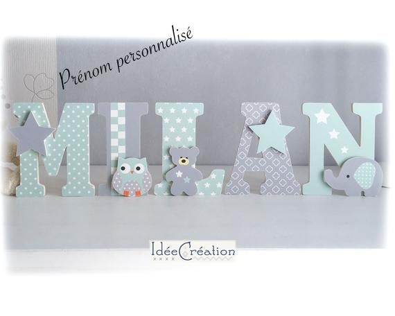 Letters To Ask First Name In Wood And Printed Fabric Customizable