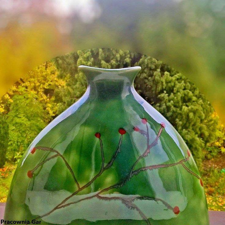 ceramic vase , stoneware , autumn,green, Christmas, handmade, ceramic art ,